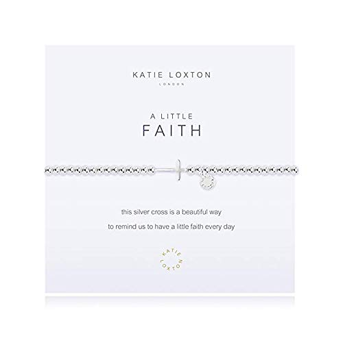 Katie Loxton A Little Faith Horizontal Cross Silver Women's Stretch Adjustable Charm Bangle Bracelet