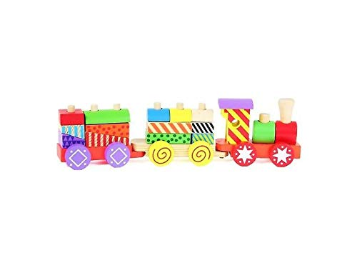 Van Manen 2Play Wood Holzzug mit Wagons, Holzspielzeug, Holzeisenbahn mit bunten Bauklötzen, Spielzeug für Kinder, 610063, Mehrfarbig