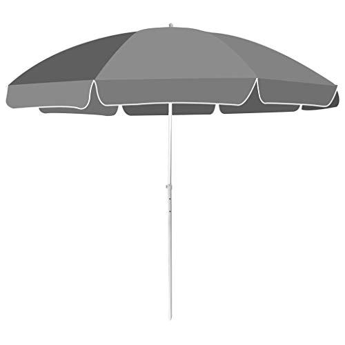 SEESEE.U Sombrilla de Playa 300cm Antracita Parasol de jardín al Aire Libre Sombrilla Toldo