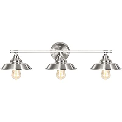 Bathroom Vanity Light Fixtures, 3-Light Farmhouse Wall Sconce Wall Mounted, Chrome Industrial Wall Light Fixture for Mirror Cabinets Dressing Table
