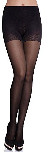 Merry Style Collant Sous-vêtement Minceur Gainant Push Up Femme MS 128 40 DEN (Noir, L)