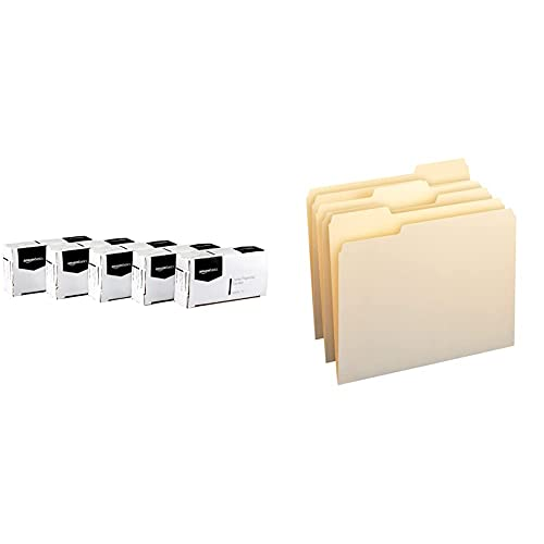 Amazon Basics Jumbo Size Office Paper Clips, Non Skid, 100 per Box, 10-Pack & 1/3-Cut Tab, Assorted Positions File Folders, Letter Size, Manila - Pack of 100