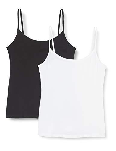 DIM Les Pockets Eco, Chaleco Para Mujer, Negro/Blanco, M, Paquete de 2