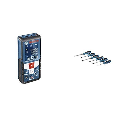 Bosch Professional Laser Entfernungsmesser GLM 50 C (Messbereich: 0,05 - 50 m, Messgenauigkeit: +/- 1,5 mm, in Schutztasche) + 6tlg. Schraubendreher Set
