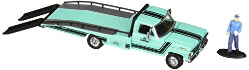 Greenlight 1:64 Hobby Exclusive - 1967-72 Ford F-350 Ramp Truck with Truck Driver Figure Diecast Toy Car 29892
