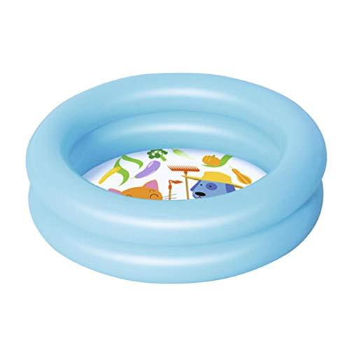 FLYFO Draussen Schwimmbad, Sommer Baby Aufblasbar Schwimmbad Kinder Runde Becken Badewanne Tragbar Kinder Draußen Sport Spielzeug Spielen,Blau