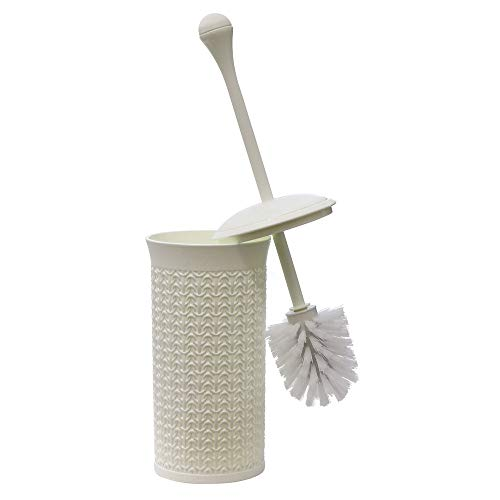 JVL Knit Design Loop Plastic Toiletborstel en -houder, Ivoor 40cm x 12cm, One size