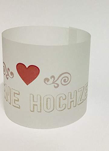 12 Mini Tischlichter mit Teelichtglas (auch Tischkarte) für die Hochzeit, Silberhochzeit, Goldene...