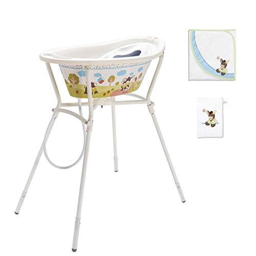 Rotho Babydesign Set de Bain Complet Emmi StyLe! avec Baignoire et Support Pliable, Serviette de bain et gant de toilette, 0-12 Mois, Max 25 kg, Blanc, 210620195BS
