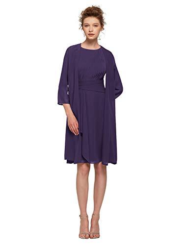 AW BRIDAL Petite Tea Length Regency Mother of The Bride/Groom Dress Short Prom Dress for Wedding Guest Women,US8