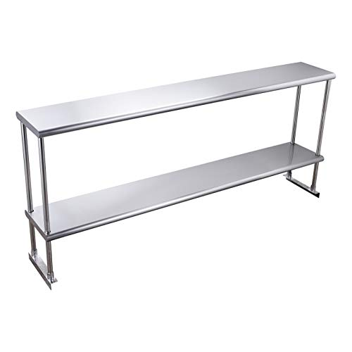 Hally Double Overshelf of Stainless Steel 12 x 72 Weight Capacity 420lb NSF Commercial 2 Tier Shelf for Prep Work Table in Restaurant Home and Kitchen