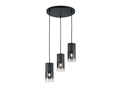 Mehrflammige LED Pendelleuchte aus matt schwarzem Metall mit DREI Rauchglasschirmen