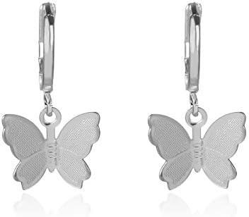 Kercisbeauty Dainty Silver Butterfly Earrings for Women Ladies Girls Butterfly Drop Dangle Hoop product image