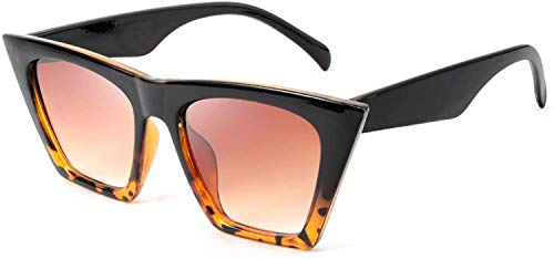 JFAN Gafas de Sol Flat Top Cuadradas de Gran Tamaño Hombres Mujeres Gafas de Sol Cuadradas Vintage UV400 Fashion Lentes
