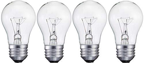 4 Pack A15/CL - 15 Watt A15 Incandescent Oven Bulb - Appliance Bulb - Clear Finish - Medium (E26)
