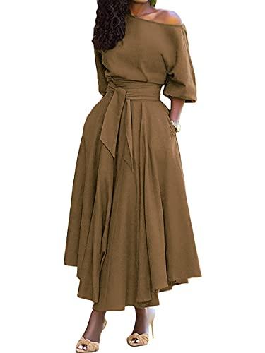 Tomwell Vestido Mujer con Corbata de Hombro Oblicua Dress Color Sólido Elegante Manga 3/4 Swing Vestidos Cóctel Falda Larga Vestido Caqui XL
