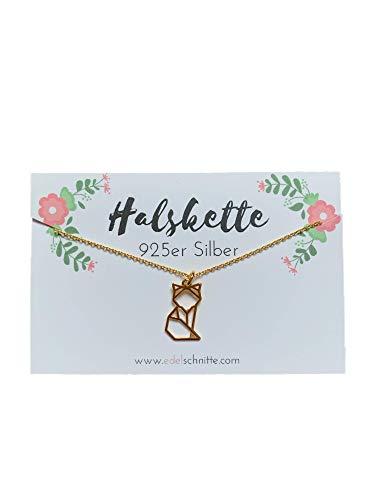 Edelschnitte Halskette Fuchsliebe 925er Silber Gold Fox Fuchs Fuchskette Geschenk