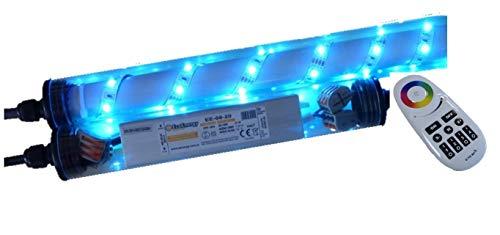 Lichtidee Led Beleuchtung für Steinzäune Gabionen 0,85m RGB mit Funk Fernbedienung zur beleuchtung von Steinmauern/Gabionen Anschluß 230 Volt über offene Kabelenden
