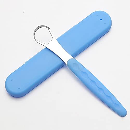 Raspador De Lengua, Limpiador De Lengua De Acero Inoxidable Cepillo, Naturalmente Durable Para Aliento Fresco Y Salud Bucal, 15X2.5X1Cm Azul