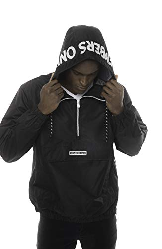 Members Only Solid Popover Jackets for Men Casual, Windbreaker Men, Half Zip Pullover Hooded Jacket (Solid Black, M)