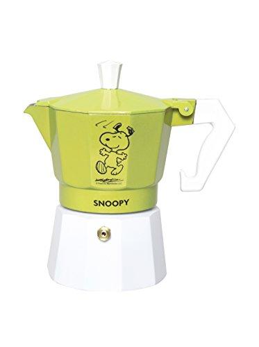 Excelsa Penauts Caffettiera Snoopy 3 Tazze, Alluminio, Verde, 9x15x15 cm