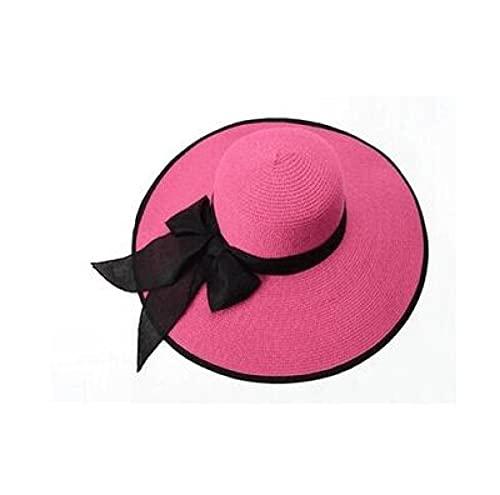 Bywenzai Sombrero para el Sol Elegante Sombrero Flexible De ala Grande, Sombrero para El Sol, Lazo Negro para Mujer, Sombrero De Playa, Sombrero Plegable De Verano, Protección UV, Sombrero Informal D