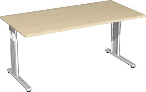 Gera Möbel S-617103-AH/SI Schreibtisch Lissabon, 160 x 80 x 68-82 cm, ahorn/Silber