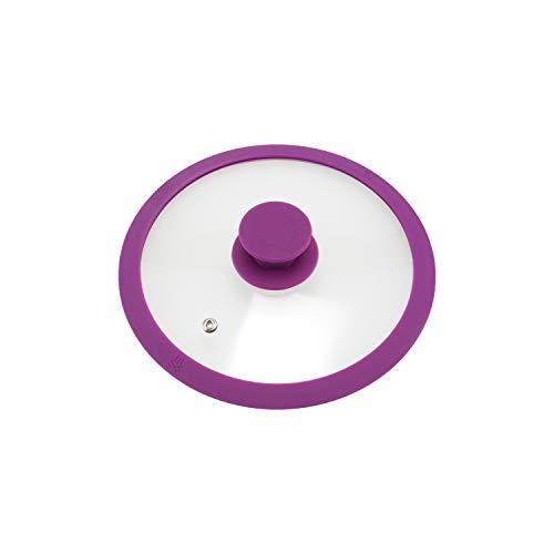 bremermann - Tapa de Cristal con Borde de Silicona para ollas y sartenes de 20 cm (Fucsia)