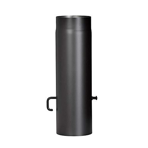 FIREFIX R150/5D Ofenrohr aus 2 mm starken Stahl (Rauchrohr) in 150 mm Durchmesser, für Kaminöfen und Feuerstellen, Senotherm, schwarz, 500 mm lang mit Regulierklappe