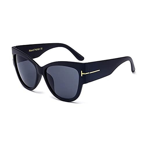 WANGZX Gafas De Sol Retro con Forma De Ojo De Gato Gafas De Sol para Mujer Gafas De Sol A La Moda para Mujer Gafas De Conducción para Niños Negro Mate-Negro