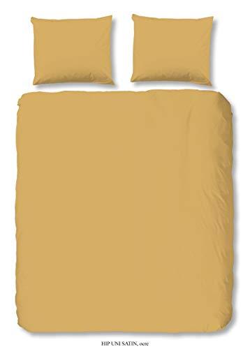 HIP Ropa de cama de satén Mako de 2 piezas, funda nórdica de 135 x 200 cm y funda de almohada de 80 x 80 cm, Uni 0280.63.08 ocre