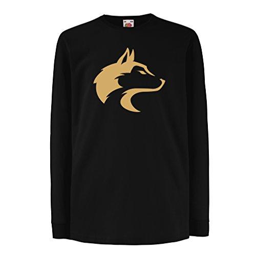 Camisetas de Manga Larga para Niño la Llamada del Lobo Salvaje - gráfico Genial con sentimiento Espiritual (14-15 Years Negro Oro)