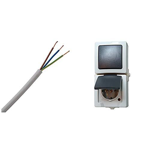 Kopp 150825001 NYM-J 3 x 1,5 mm² Feuchtraum-Kabel, 25 m-Ring & 138556008 Nautic Steckdose und Schalter Kombination für Feuchtraum, grau