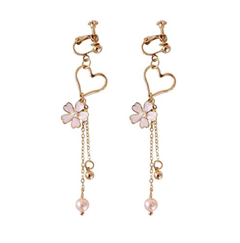 Vvff Gold Color Sweet Flower Long Tassles Earrings Hollow Heart Crystal Pink Sakura Clip Earrings For Girls Gifts