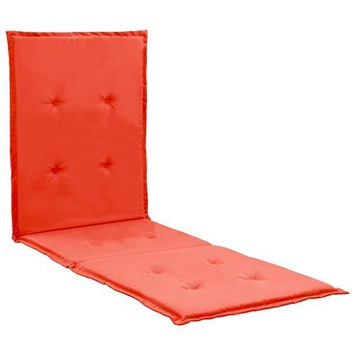 vidaXL Cojín para tumbona rojo 180x55x3 cm