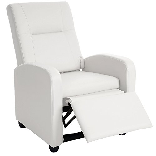 Poltrona relax Denver Basic ecopelle inclinabile 90x75x100cm bianco