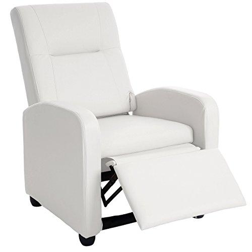 Mendler Fernsehsessel Denver Basic, Relaxsessel Relaxliege Sessel, Kunstleder ~ weiß