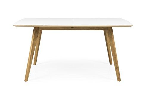 Tenzo 2184–901 BESS Designer Table de salle à manger rectangulaire avec allonge, HPL Blanc/Chêne