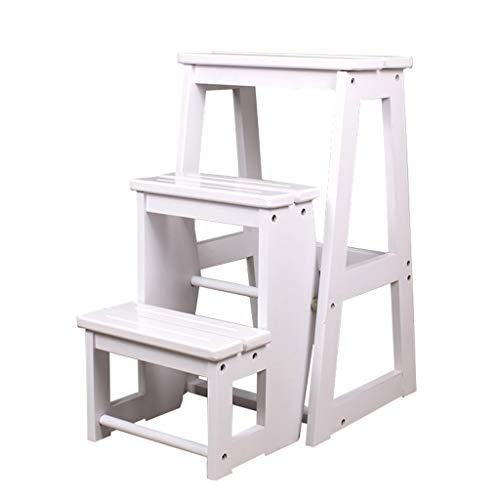 Hockerleiter/Klapphocker klappstufen Holz/klappstufenleiter/Klapptritts/Stufen Tritthocker/Hockerleiter/Tritthocker klappbar/Leiterstuhl/Tritt- kleine Leiter/3 Schritt Hocker