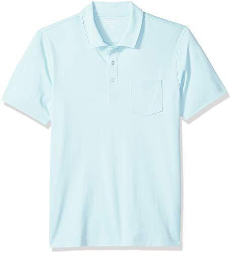 Amazon Essentials Herren-Poloshirt, schmale Passform, mit Brusttasche, aus Jersey, Aqua, US S (EU S)