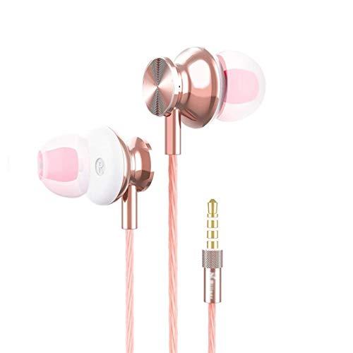 HBR Auriculares Tapones para los oídos/conectados en Auriculares Auriculares Auriculares estéreo con Ruido de micrófono 3.5 mm Auriculares en la Oreja para Auriculares Deportivos (Oro) (Color : Gris)