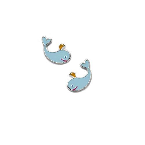 925m silver earrings Law Agatha Ruiz de la Prada 11mm. Green glazed whale collection [AC1554]