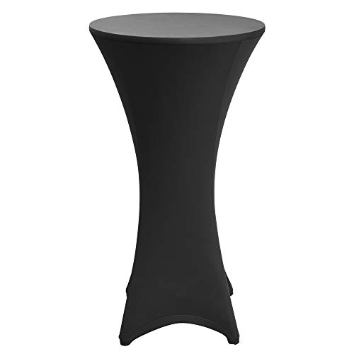 Beautissu Housse de table de bistrot - Mange debout - Deco Cocktail - Stretch spandex - Stella - 60-65cm - Noir