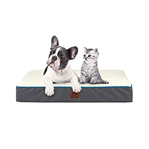 SunStyle Home Orthopedic Foam Dog Bed for Medium & Large Dogs Up to 75lbs with Waterproof Removable Cover, Mattress Pet Mat Bed for Dogs & Cats – Orthopedic Egg Crate Foam Platform, Grey