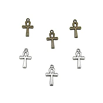 60 Pcs 2 Color Egyptian Ankh Cross Charm Pendant for DIY Jewelry Making Bracelet and Necklace