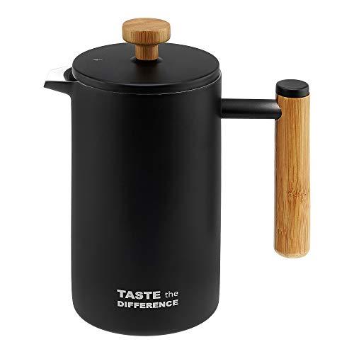 TASTE the DIFFERENCE French-Press aus Edelstahl im Bambus-Design [600ml] – Hochwertiger Kaffeebereiter inkl. Ersatzfiltern & Dosierlöffel - Schwarz