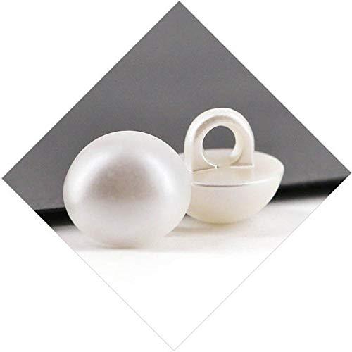 BTKNOO 50 remaches de perlas de color blanco y negro para costura, 50 unidades, de acrílico de color blanco y negro
