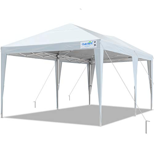 Quictent 10x20 Easy Pop up Canopy Tent Instant Canopy Shelter Waterproof with Roller Bag (White)