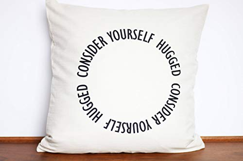 Flowershave357 Consider Yourself Hugged Pillow Cover Hug for Mom Personalized Send a Hug Unique I Love You Perfect for Far Away Friend
