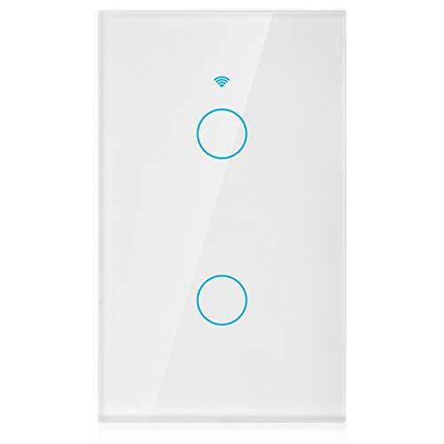 DAUERHAFT Interruptor WiFi Interruptor WiFi Unidireccional Círculo único 90-250V para Alexa y Control de Voz de Google Home(White, U.S. regulations)